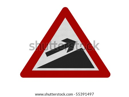 Photo realistic reflective metallic 'upward slope' sign, can be used as financial metaphor. Isolated on a pure white background. - stock photo