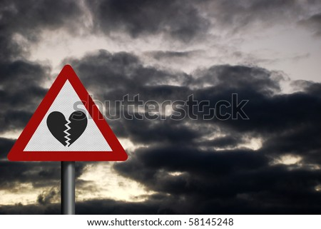 Photo realistic reflective metallic 'warning - broken heart' sign. Space for your text / editorial overlay - stock photo