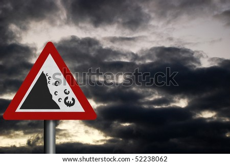 Photo realistic sign depicting falling Euro, against a dark, stormy sky - stock photo