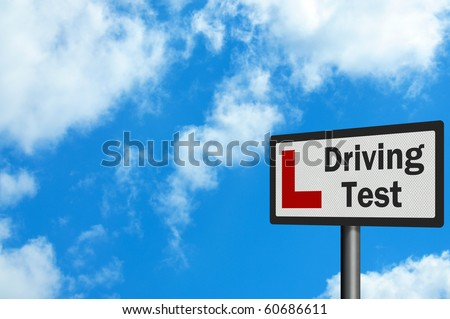 Photo realistic sign - driving test and 'L-plate'. With space for your text / editorial overlay - stock photo