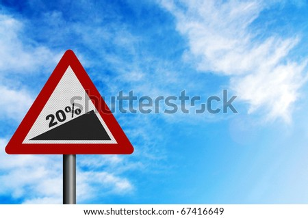 Photo realistic '20% slope' sign, to represent Jan 2011 UK VAT increase. With space for your text overlay - stock photo