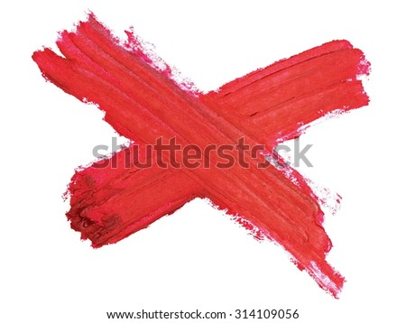 photo red delete web icon grunge brush strokes oil paint isolated on white background