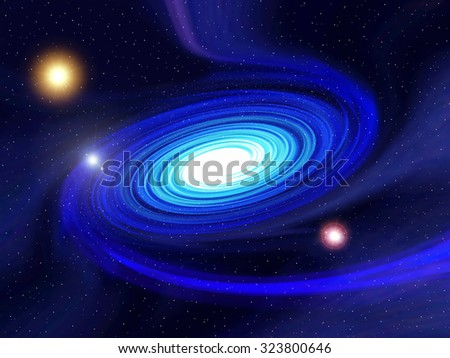 Photo render of a spiral blue galaxy in space. Suitable for science-fiction or fantasy.