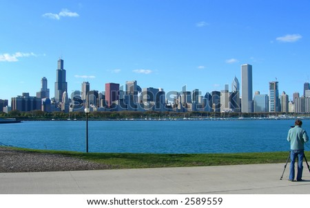 Photo shoot of Chicago Skyline from across Lake Michigan