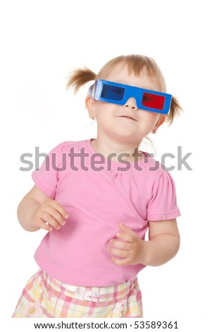photo shot of little girl with 3D glasses - stock photo