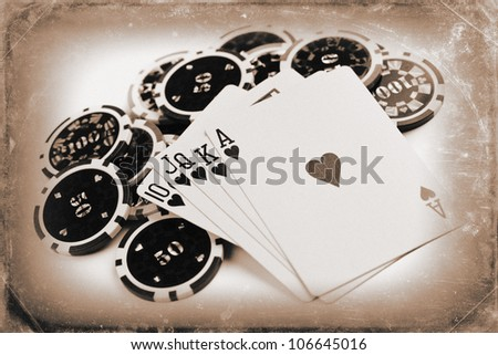 photo shot of vintage poker concept - stock photo