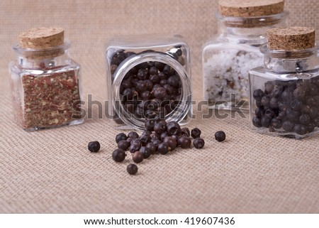 photo showing juniper in glass containers - stock photo