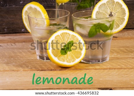 photo showing the classic lemonade with fresh mint - stock photo