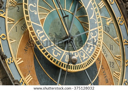 Photo shows Old Town Hall Tower Prague astronomical clock during a day.