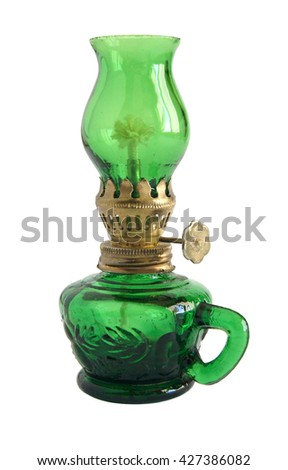 Photo shows old vintage glass oil lamp