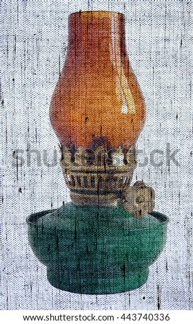 Photo shows old vintage glass oil lamp - Photo made with canvas texture effect     - stock photo