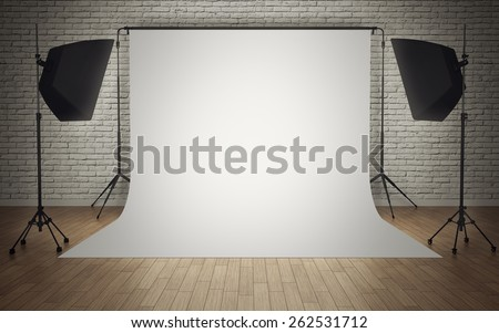 Photo studio equipment with white background - stock photo