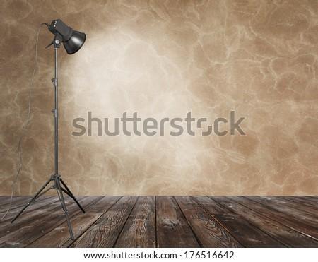 photo studio in old grunge room  - stock photo