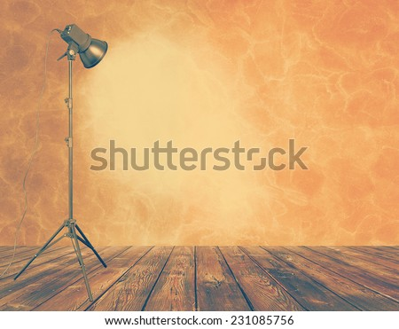 photo studio in old grunge room, retro filtered, instagram style - stock photo