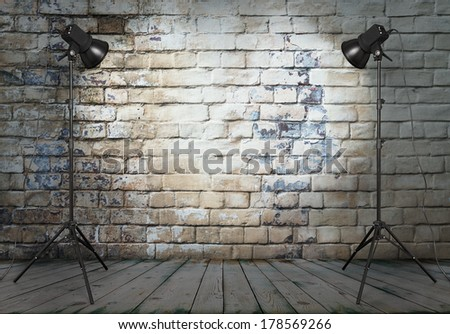 photo studio in old room with brick wall  - stock photo