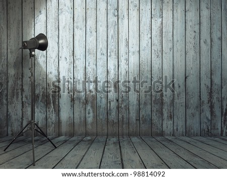 photo studio in old wooden room - stock photo