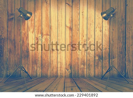 photo studio in old wooden room, retro filtered, instagram style - stock photo