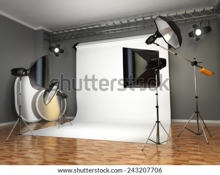 Photo studio with lighting equipment. Flashes, softboxes and reflectors. 3d - stock photo