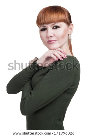 photo the beautiful girl on white background