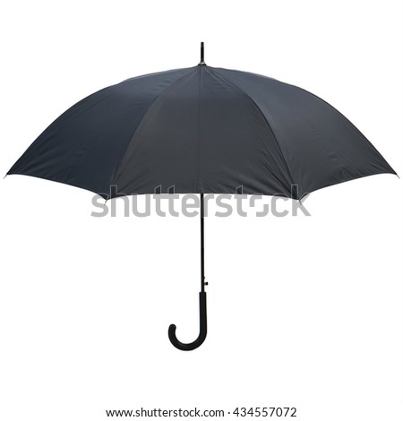 Photo vintage Black umbrella  isolated on white background. This has clipping path in horizontal orientation, nobody.