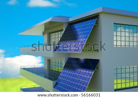 photo voltaic module on house wall - stock photo