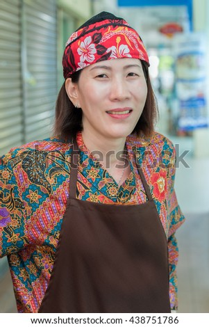 Photo waitress of one of cafe in Tanah Rata - stock photo