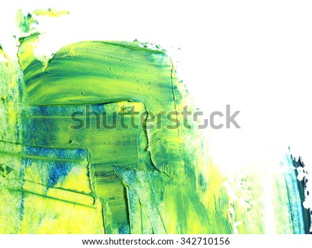 photo yellow green grunge brush strokes oil paint isolated on white background - stock photo