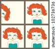 Photoboot pictures of a cute red-haired girl - vector illustration - stock photo