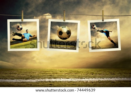 Photocards of football players on the outdoor field - stock photo