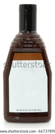 Photograph blank Label New bottle of bbq barbecue sauce over white background. 28oz bottle.