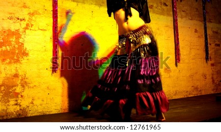 Photograph featuring the lower body of a belly dancer and the silhouette of her upper body (Adelaide, Australia).