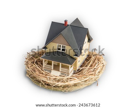 Photograph of a bird's nest with a miniature home in the nest, illustrating the concept of real estate investment as part of a retirement plan. - stock photo