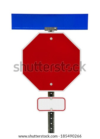 Photograph of a blank red stop sign with blue street sign above it and small red bordered white traffic sign below.  Text letters have been removed. Isolated on a white background.   - stock photo