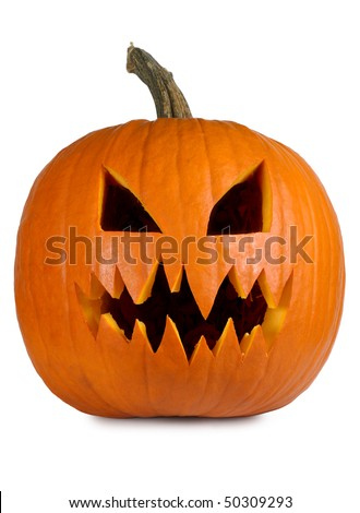 Photograph of a isolated carved evil pumpkin. Clipping path included. - stock photo