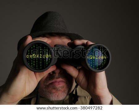 Photograph of a man in trench coat and hat looking through binoculars at computer code and a password. - stock photo