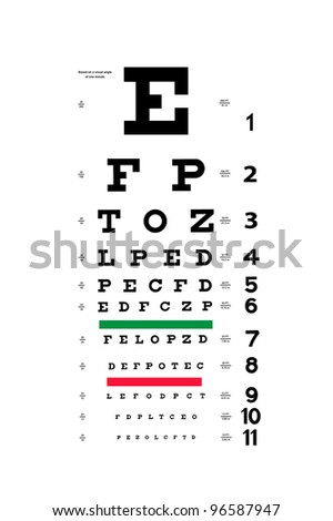 Photograph of a new Snellen eye examination chart. - stock photo