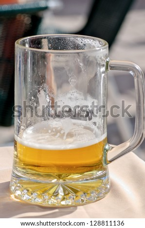 photograph of a pitcher of beer at a local beach on the island of Mallorca