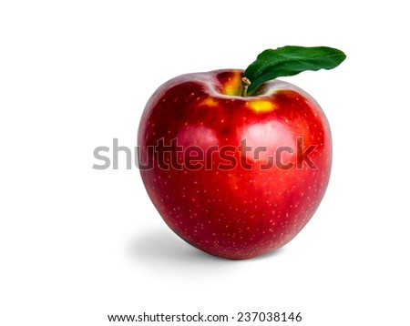 Photograph of a red apple isolated on white with clipping path.