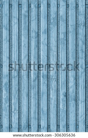 Photograph of Bamboo Place Mat, Blue Stained, Bleached and Mottled, Grunge Texture Detail.