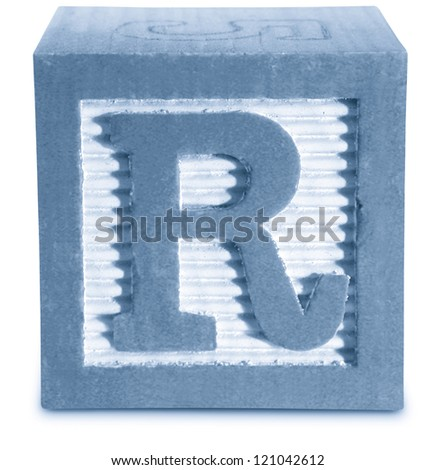 Photograph of Blue Wooden Block Letter R