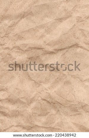 Photograph of Brown Recycle Paper, coarse grain, crumpled grunge texture sample.