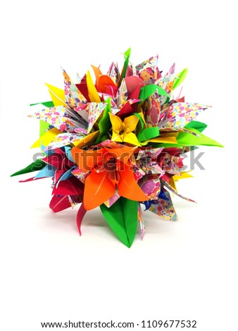 Photograph colorful origami flower arrangement stock photo royalty photograph of colorful origami flower arrangement mightylinksfo