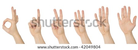 photograph of counting hands with clipping paths