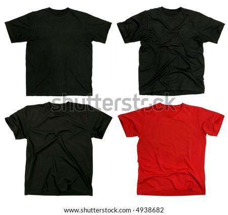 Photograph of four blank t-shirts, new and old, wrinkled and flat.  Ready for your design. - stock photo