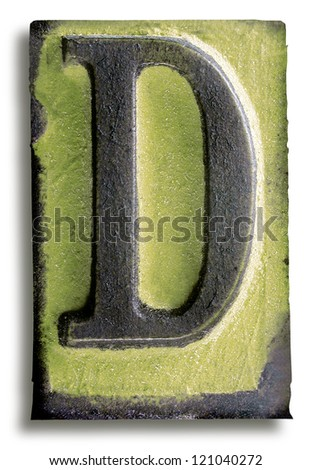 Photograph of Green Rubber Stamp Letter D - stock photo