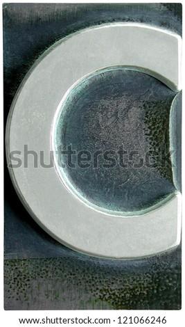 Photograph of Metal Letterpress Letter C - stock photo