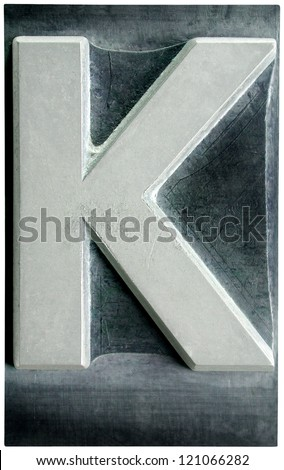 Photograph of Metal Letterpress Letter K - stock photo