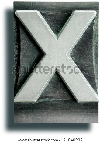 Photograph of Metal Letterpress Letter X - stock photo