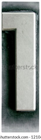 Photograph of Metal Letterpress Number 1 - stock photo