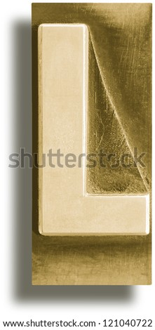 Photograph of Metal Letterpress Sepia Letter L - stock photo